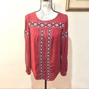 Lucky Brand Boho Embroidered Peasant Blouse